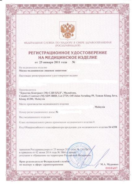 Сертификация маски EURONDA
