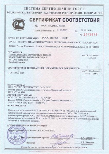 Сертификат на мебель для кухни